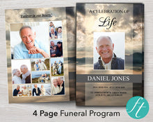 4 Page Mountain Funeral Program Template