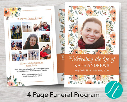 4 Page Peach Bouquet Funeral Program Template