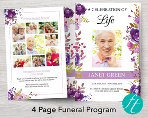 4 Page Peonies Display Funeral Program Template