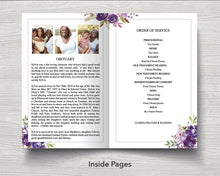 4 Page Peonies Photo Collage Funeral Program Template