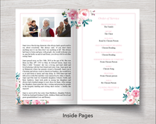 4 Page Peony Pink Funeral Program Template