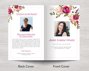 4 Page Pink Bloom Funeral Program Template