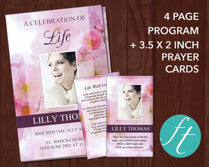 Pink blossom funeral program template plus matching prayer card