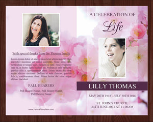 Obituary Template with pink blossom design