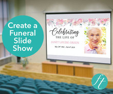 Pink floral funeral slideshow template