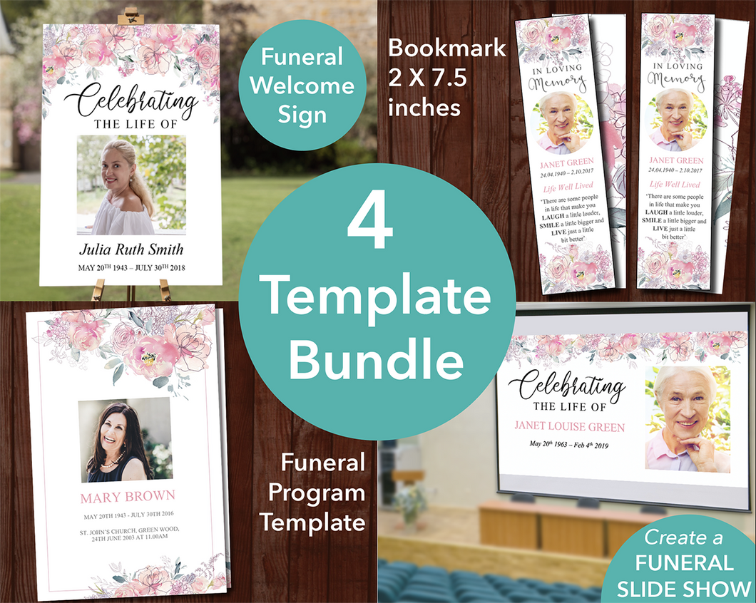 Pink floral funeral template bundle with matching sign, slideshow, bookmark and program