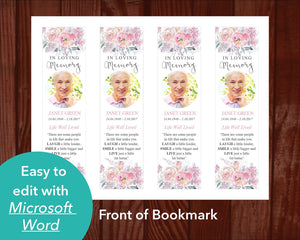 Pink floral funeral bookmark template