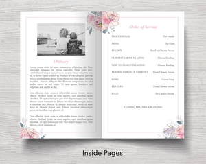 4 Page Pink Blush Funeral Program + Sign, Slide Show & Bookmark