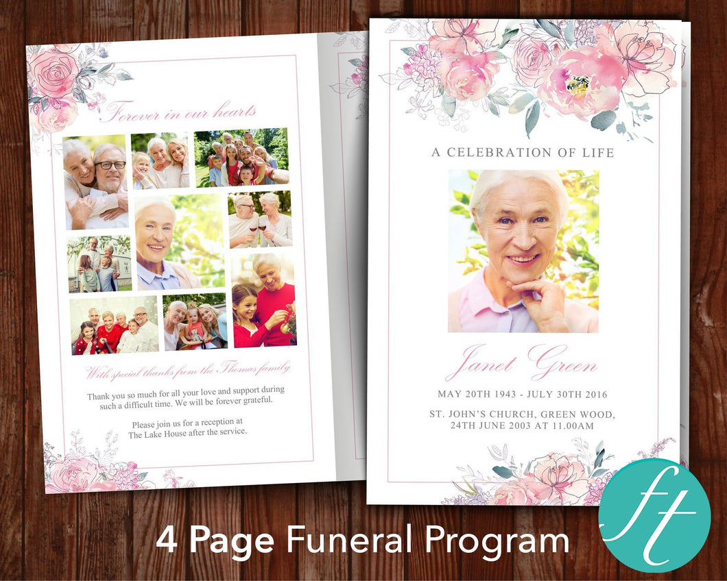 4 Page Pink Blush Funeral Program Template