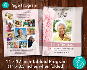 4 Page Pink Carnations Funeral Program Template (11 x 17 inches)