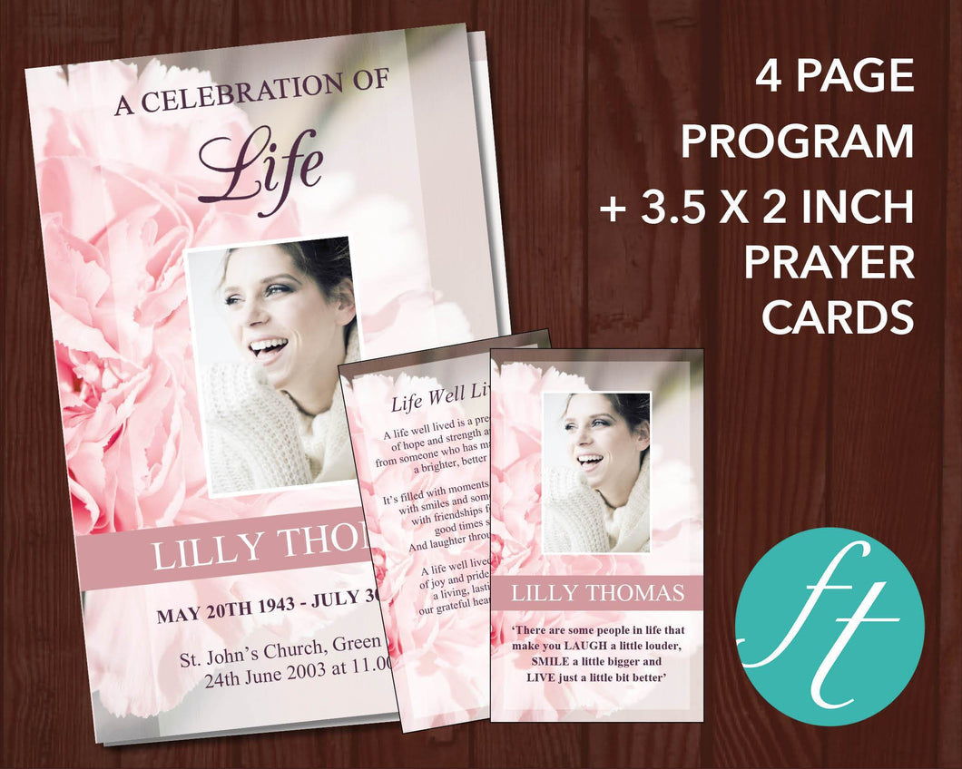 4 Page funeral program template with matching prayer card