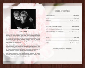 Obituary template with matching prayer card