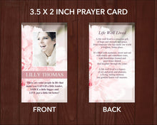 Printable prayer card with pink carnation design