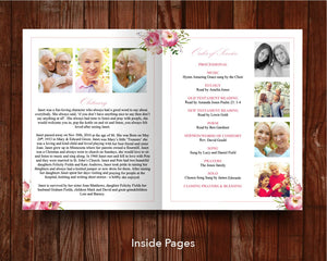 4 Page Pink Floral Funeral Program Template (11 x 17 inches)
