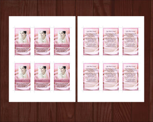Funeral prayer card template with pink roses