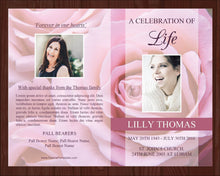 4 Page Pink Rose Funeral Program Template + Prayer Card