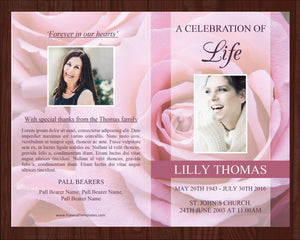 4 page celebration of life funeral program template with pink roses