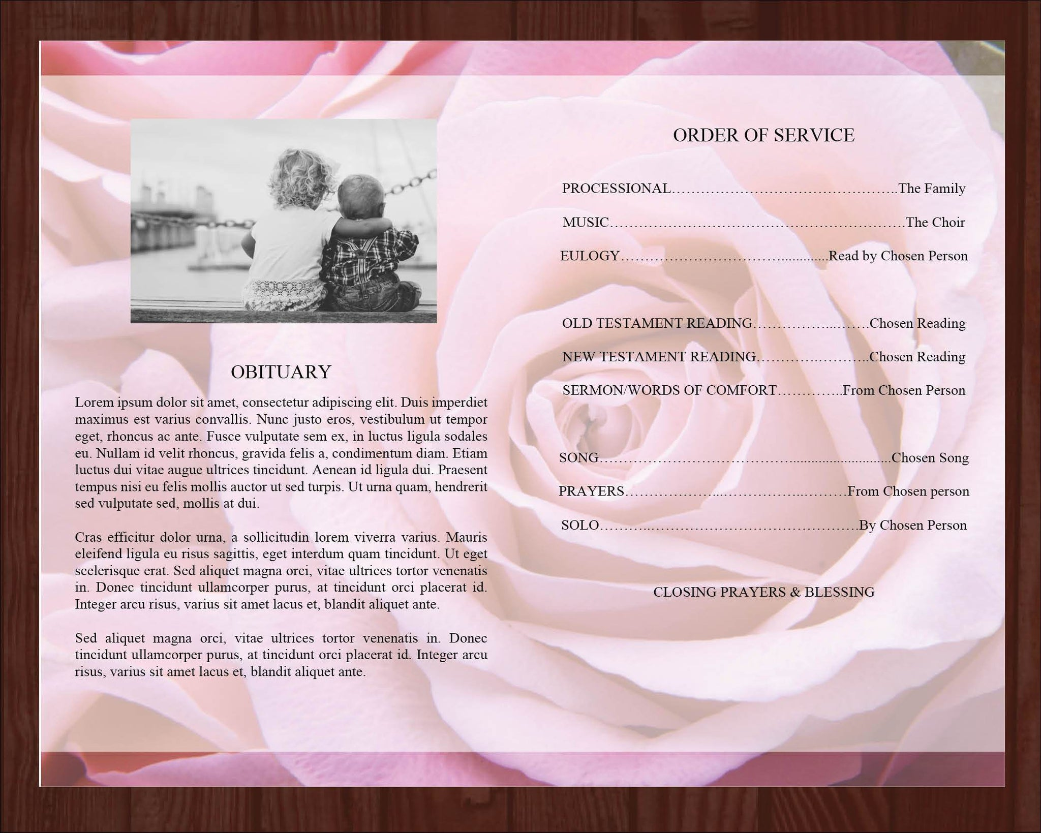4 Page Pink Rose Funeral Program Template Prayer Card Funeral Templates
