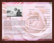 4 page obituary template designed with pink roses
