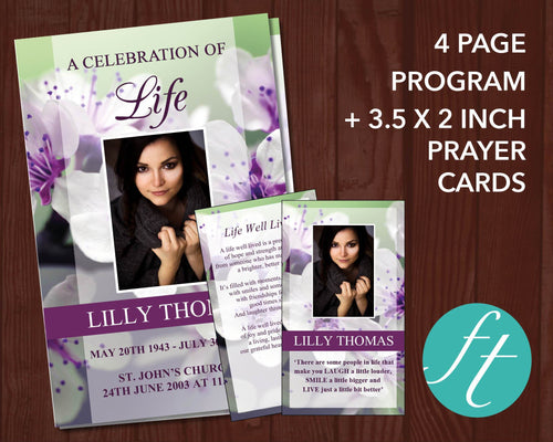 4 page printable Funeral Program plus matching Prayer Card templates with purple blossom design.