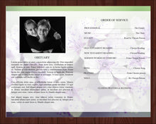 Inside of 4 page, purple funeral program. Editable with Microsoft Word