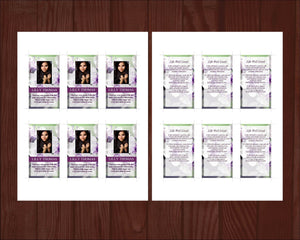 4 Page Purple Blossom Funeral Program Template + Prayer Card