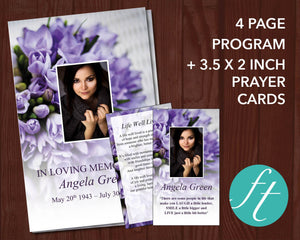 4 Page Purple Bouquet Funeral Program Template + Prayer Card