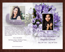 Purple floral memorial program template with editable text and photos