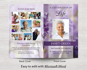 4 Page Purple Flowers Funeral Program Template