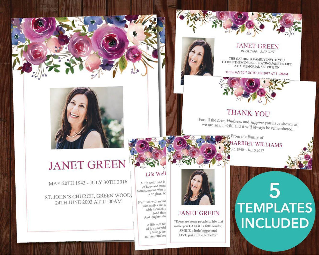 5 funeral templates with pink and purple watercolor floral design