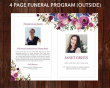 4 page funeral program template with watercolor flowers