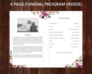 4 page memorial program with watercolor design