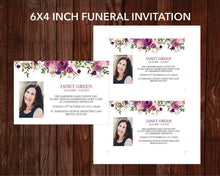 Funeral invitation card with purple watercolor design