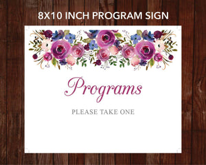 Funeral program sign with watercolor floral design