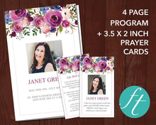4 Page Purple Roses Funeral Program Template + Prayer Card