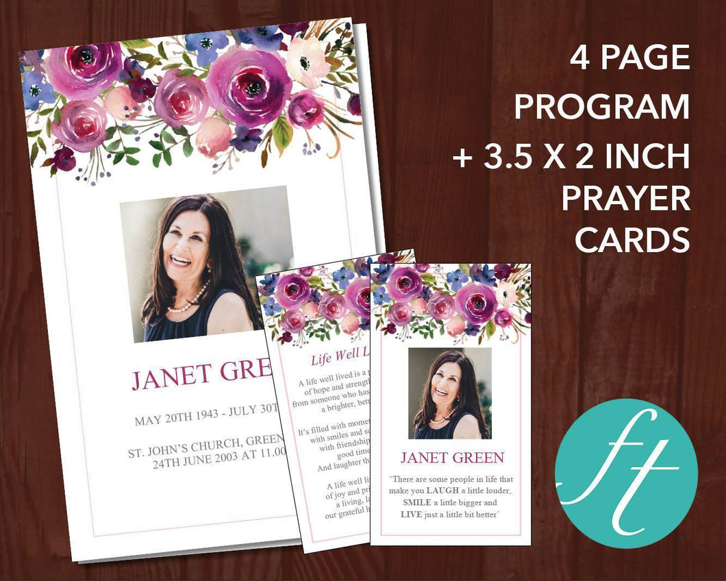 Beautiful pink and purple funeral program design