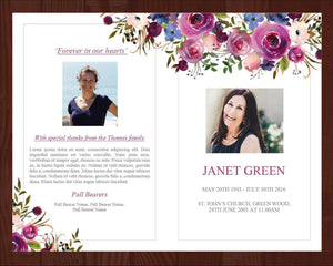 4 page funeral program template with purple and pink watercolor flowers