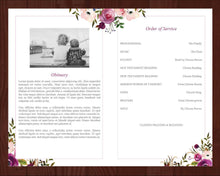 Memorial program template with pink and purple watercolor flowers