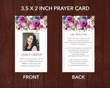 Funeral prayer card template with watercolor floral design