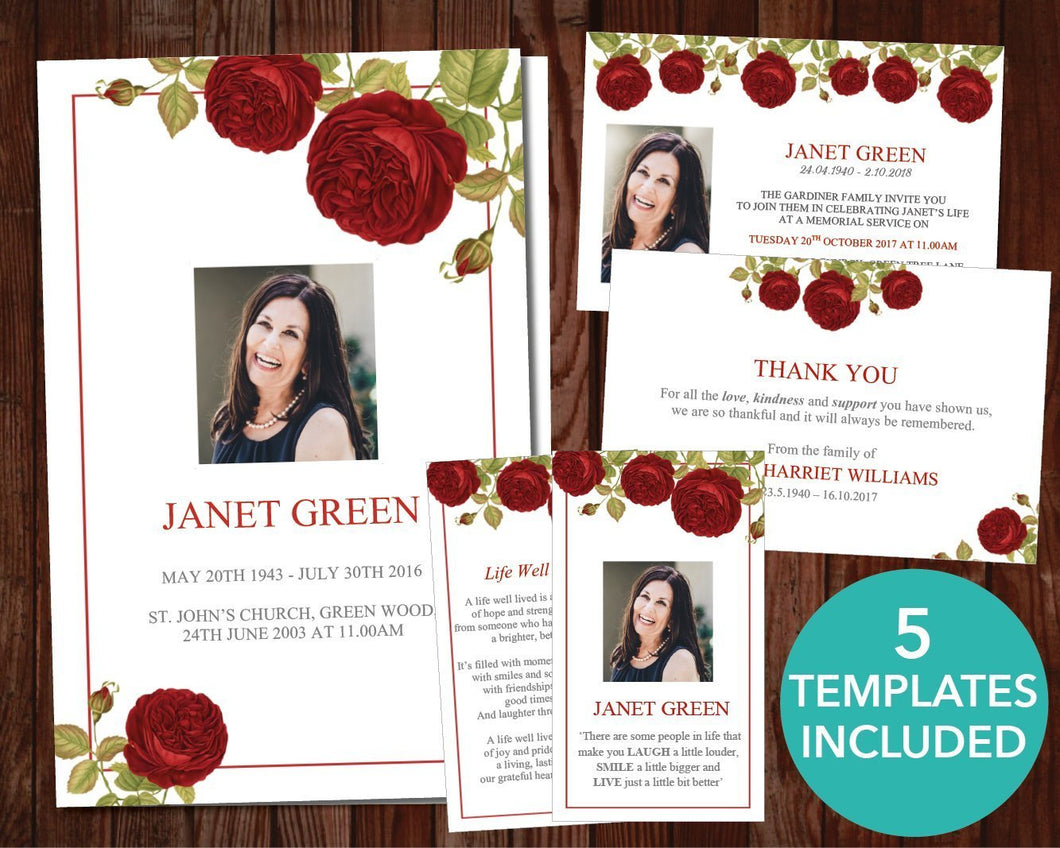Red rose funeral template set including program, invitation, thank you card, prayer card and sign