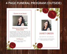 Red rose 4 page funeral program