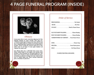4 page red rose memorial template