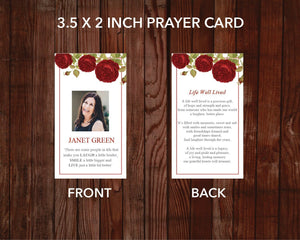 Red rose printable prayer card template