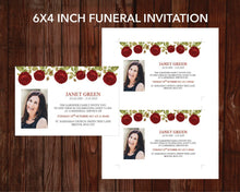 4 Page Red Rose Funeral Program Template + 4 matching Templates