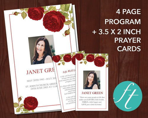 Beautiful red rose funeral program template
