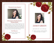 4 Page Red Rose Funeral Program Template + Prayer Card