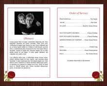 4 page funeral program template and funeral prayer card with red rose design