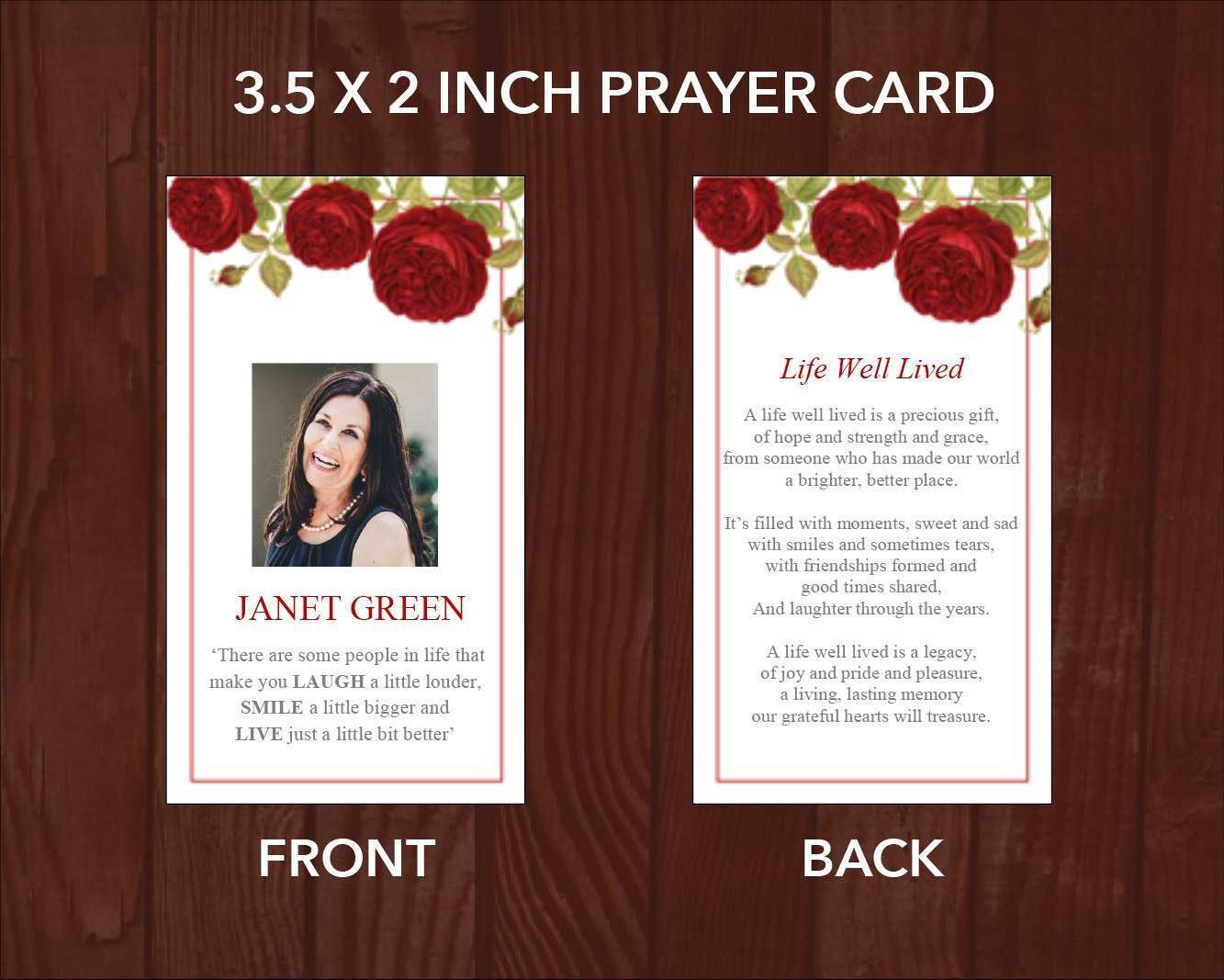 4 Page Red Rose Funeral Program Template + Prayer Card ...