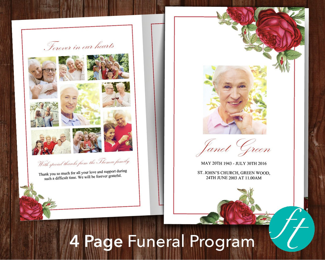4 Page Rose Garden Funeral Program Template