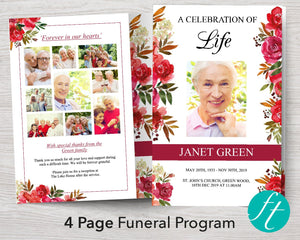 4 Page Scarlett Display Funeral Program Template